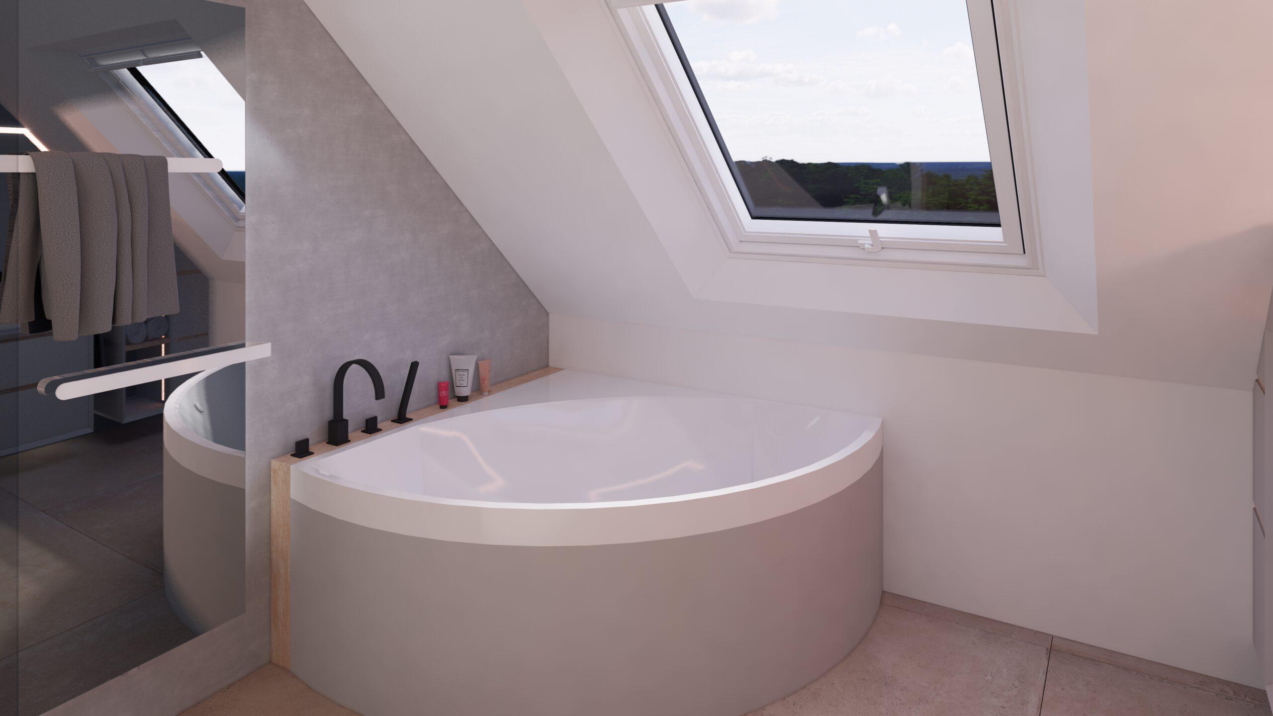 Badewanne, Eckbadewanne, Fenster