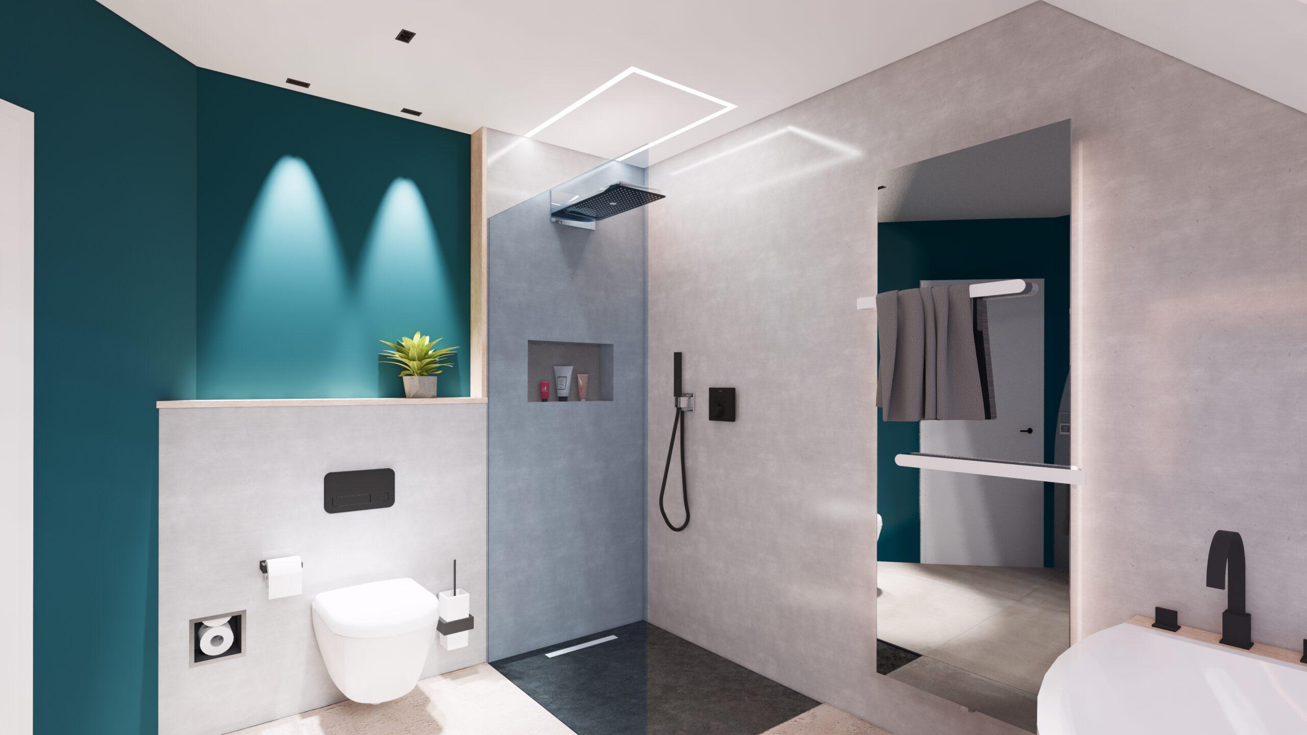 Interior Design, Dusche, WC, light Design