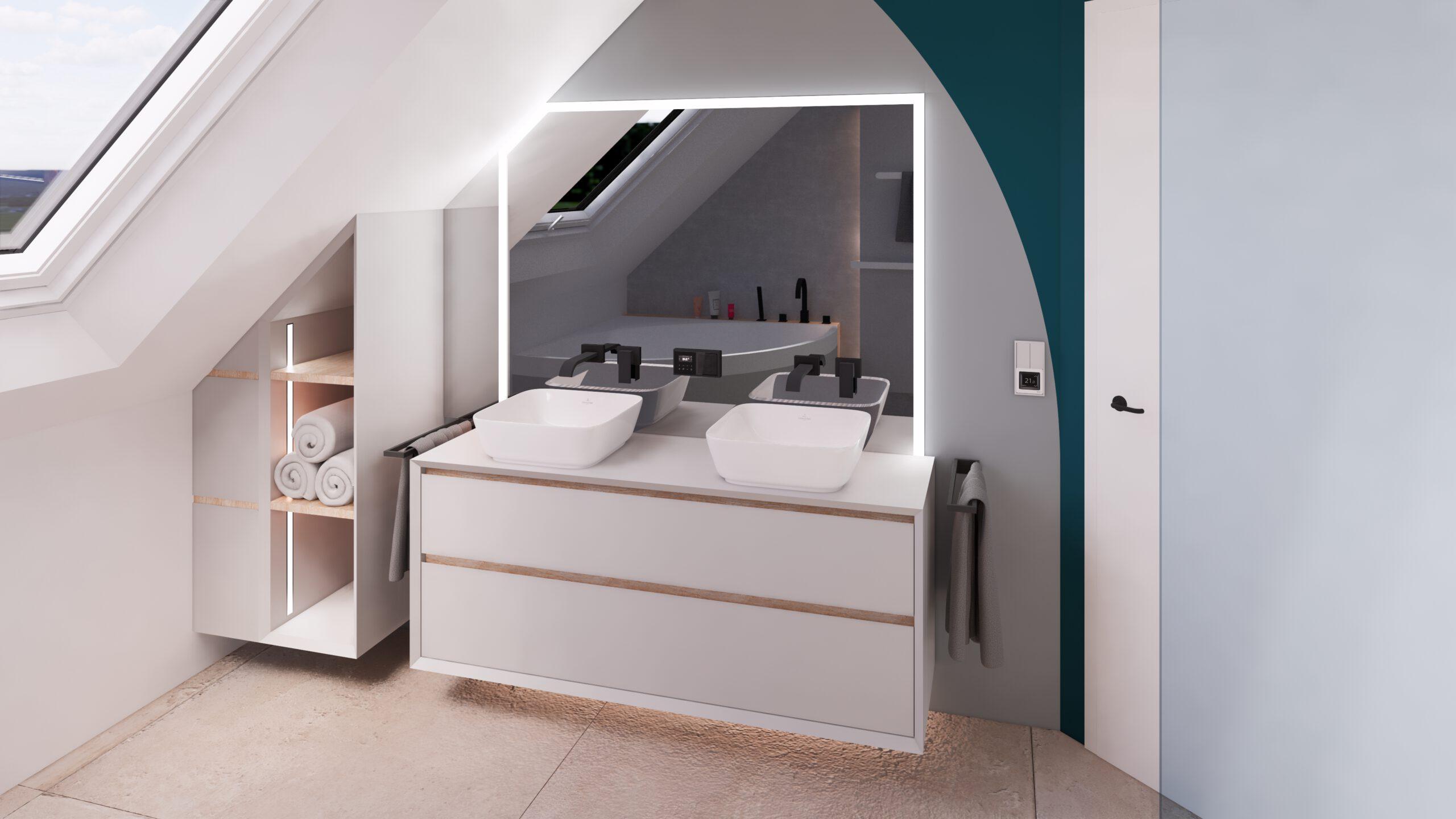 Badezimmer Spiegel Waschtisch Waschbecken Steinberger Amaturen Jung Holz LED