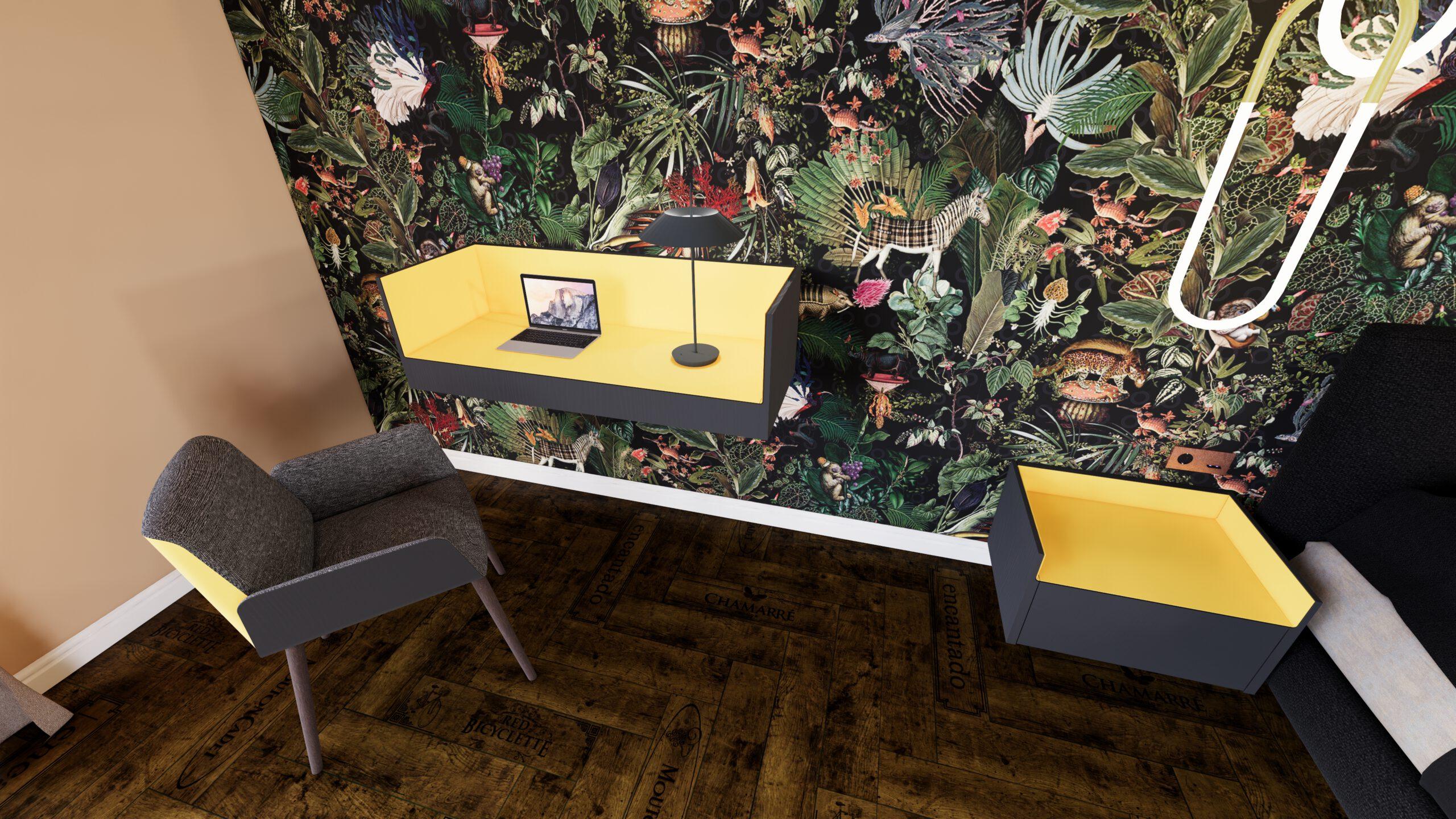 Hotelzimmer Hotel Bett Stuhl Schreibtisch Vibia Roll&Hill Basalte Tapete Arte Tepich Parkettboden Sessel Beleuchtung Vibia