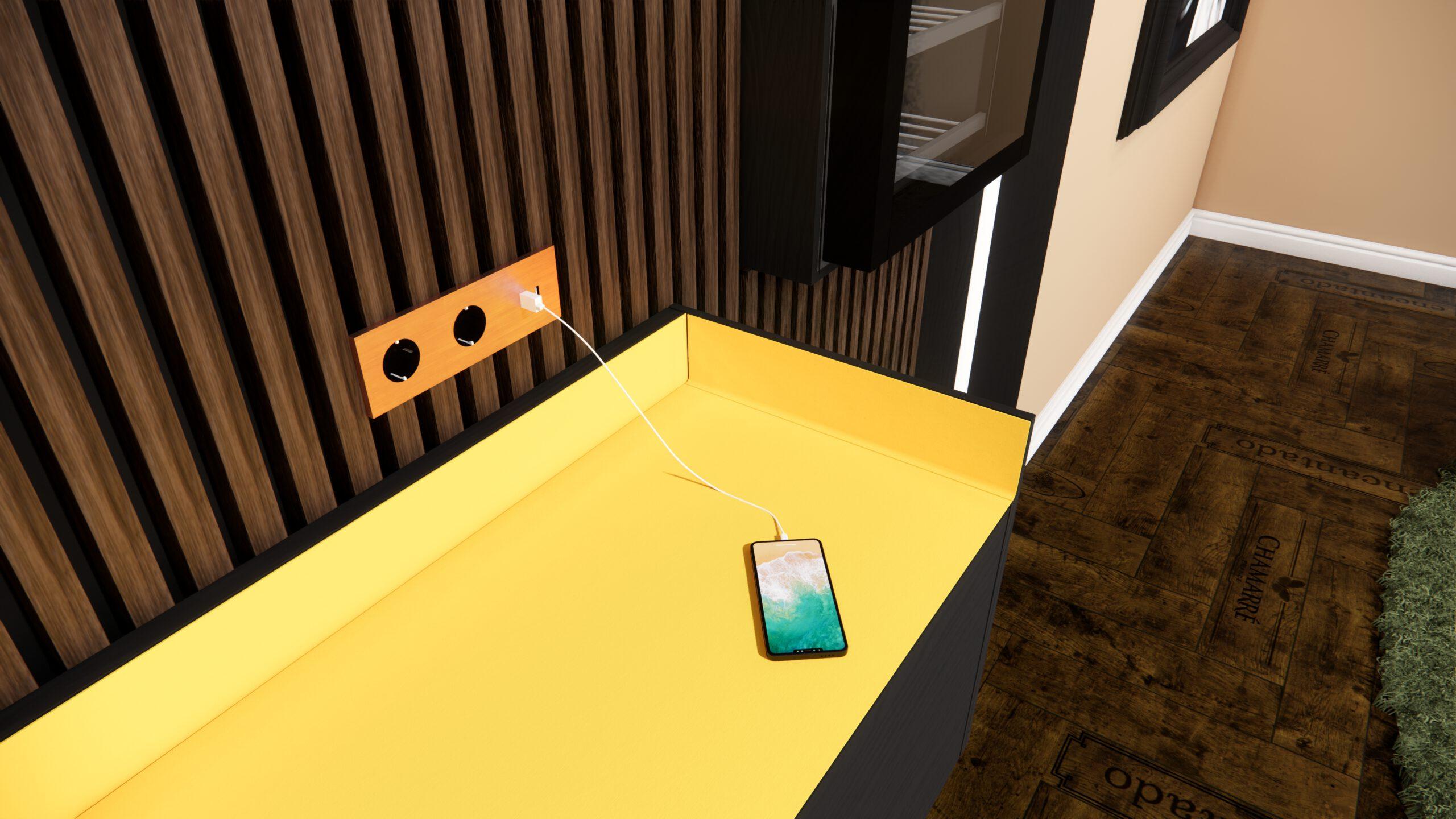 Apple Iphone Hote Basalte USB Ladegerät Lowboard Liebherr Kühlschrank LED Wandpanel