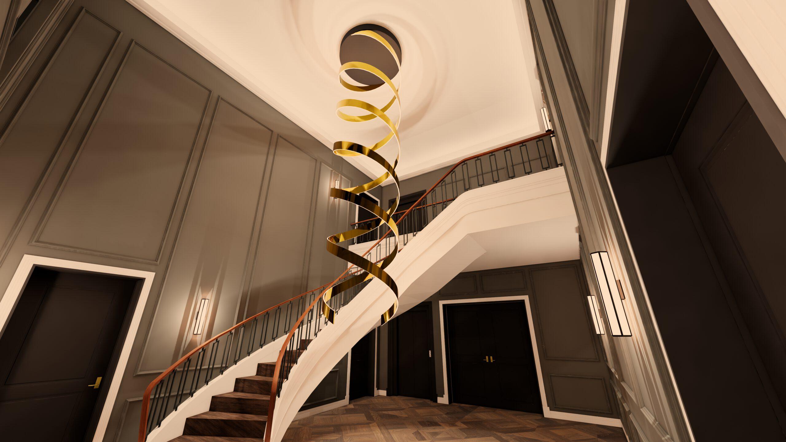 Villa Design Kronleuchter Treppe Halle Foyer Wandpanel Wandabwicklung Parkettboden Holz Gold Leuchte LED