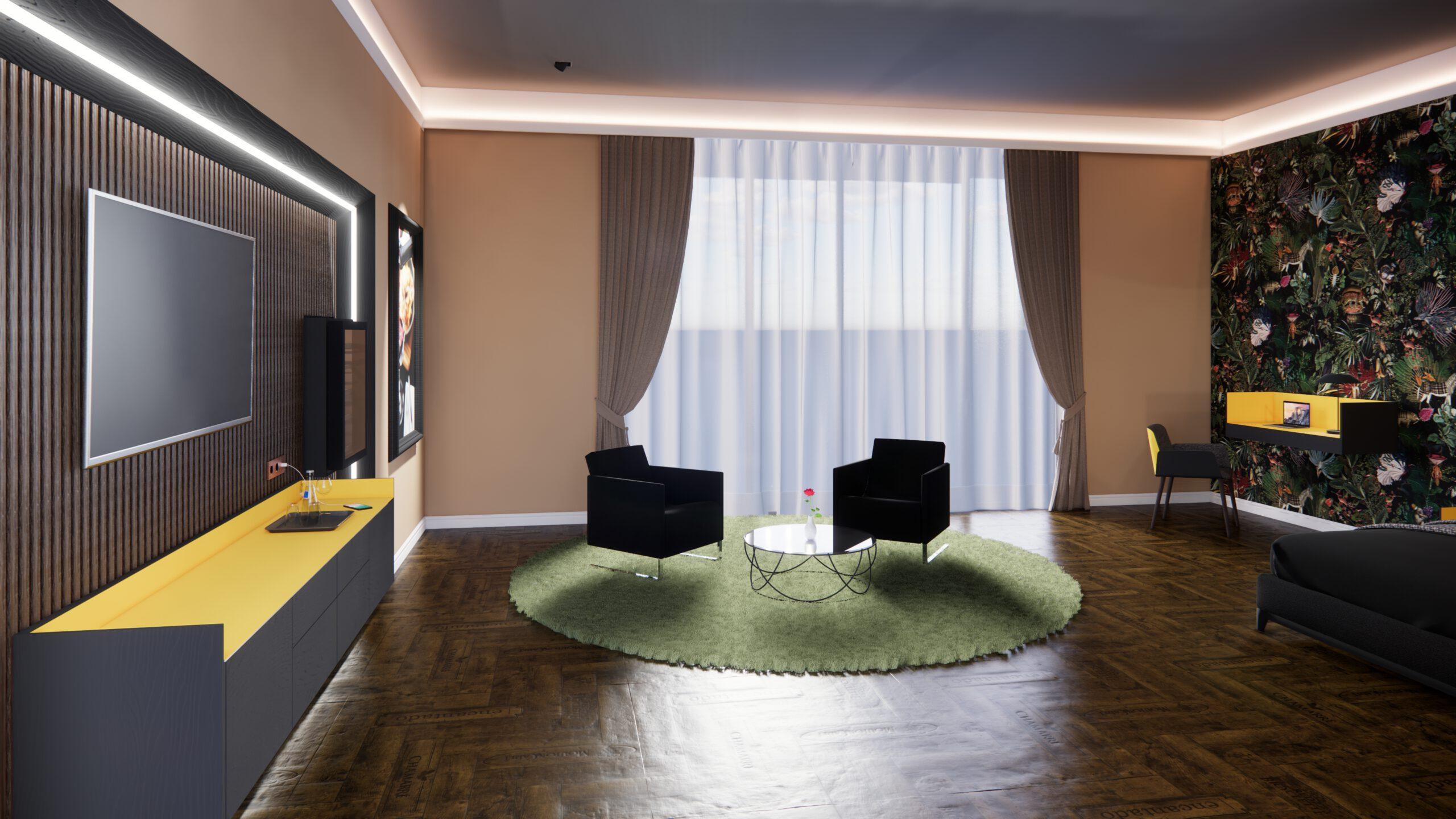Hotelzimmer Hotel Wein Liebherr Weinkühlschrank Tepich Parkettboden Sessel Tisch Kaffe Lowboard TV Bild Beleuchtung Gardine Fenster