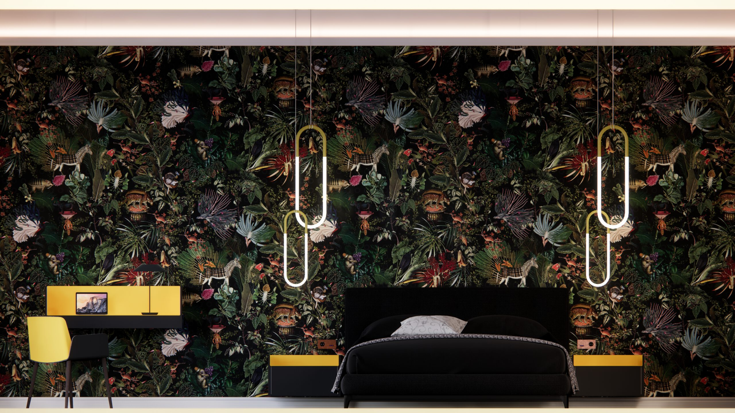 Hotelzimmer Hotel Bett Stuhl Schreibtisch Vibia Roll&Hill Basalte Tapete Arte Tepich Parkettboden Beleuchtung