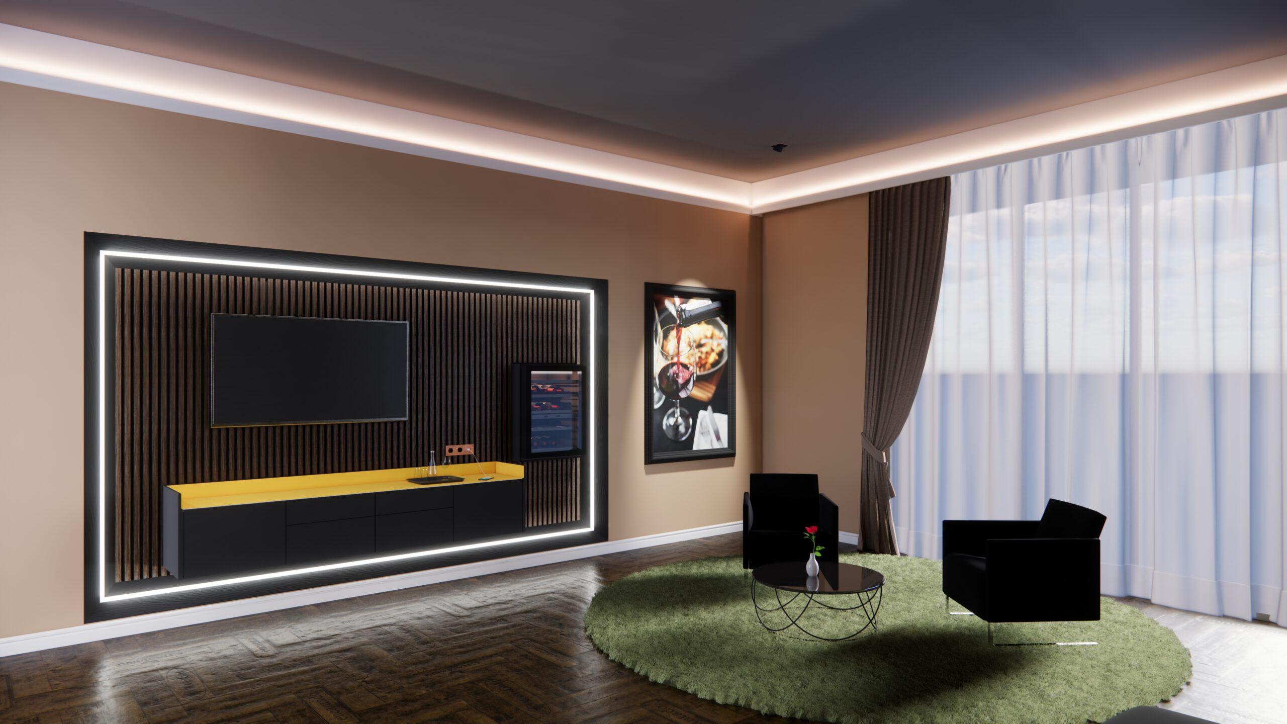 Hotelzimmer Hotel Wein Liebherr Weinkühlschrank Tepich Parkettboden Sessel Tisch Kaffe Lowboard TV Bild Beleuchtung