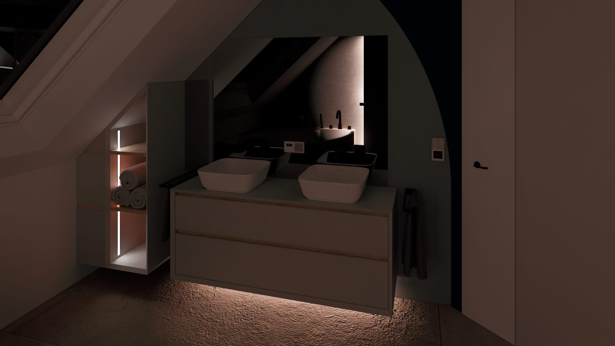 Badezimmer Fliesen Waschtisch Waschbecken LED Beleuchtung Amaturen Gessi Jung Spiegel